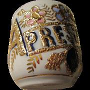 "German Shaving Mug Gold and Floral Trim "" A Present"""