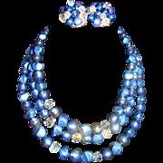 SALE CORO 3 Strand Confetti Blue Thermoset Necklace/Earrings