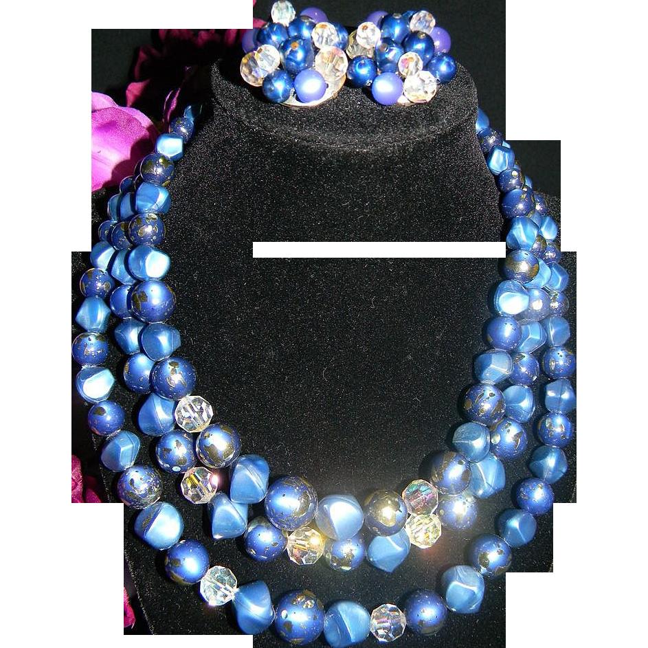 CORO 3 Strand Confetti Blue Thermoset Necklace/Earrings