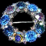 Stunning WEISS Signed Blue Hue Brooch