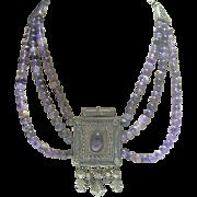 Vintage Egyptian Revival Lavender Glass Bead/Metal Casing