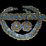 Signed  HATTIE CARNEGIE  Rhinestone Parure Necklace/Bracelet/Earrings