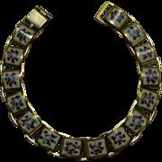 Vintage Enamel Guilloche Book Chain Bracelet