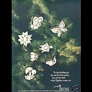 Vintage TRIFARI White Enamel/White Cabochon Flower Pin