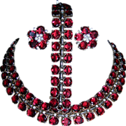 Magnificent  Vintage RARE Trifari Sterling Ruby Red Rhinestone Full Parure Necklace/Bracelet/E