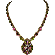 Vintage Weiss Long Encrusted Rhinestone Pendant Necklace