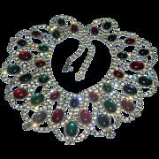 Vintage Alice Caviness Drippy Mogul Statement Bib Collar Necklace Red, Green, Blue Cabs