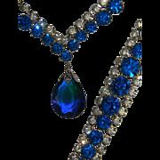 Vintage Royal Blue Prism Pendant with Clear Rhinestone Necklace and Bracelet Demi Parure