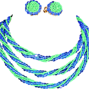 """""""ORIGINAL BY ROBERT""""  50"""" Long Twisted Royal Blue Glass Crystal and Glass Green"""