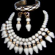 Vintage NAPIER Milk White  Lucite with Gilt Gold Tone Accents 2-Tier Dangle Bib Necklace Demi