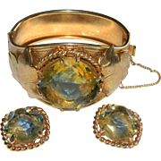 Vintage Sarah Coventry VERSAILLES Art Glass Hinged Bracelet and Matching Clip on Earrings Demi