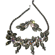 "D&E Juliana Grey ""Black Diamond"" Rhinestone Demi Parure Necklace & Clip On Earrings BOOK PIECE!"
