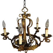 All brass early 20th century gothic style chandelier