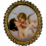 Miniature Painting Paste Jeweled Picture Frame c1900 Antique 'Forbidden Kiss' aft Willem Marte