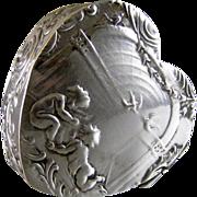 Antique Hanau 800 Silver Pill Box c.1900 Cherubs on Heart Shape