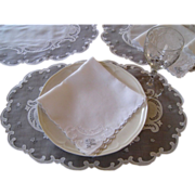 16pcs Madeira Embroidered Oval Placemat & Napkin Set Vintgae Linen Organdy