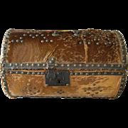 Antique Hide Carriage Log Trunk c1810