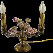 French Porcelain Flower Lamp c.1920 Vintage Two Arm Candelabra
