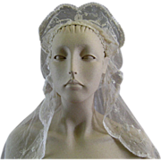 Brussels Princess Lace Wedding Veil c.1920 Vintage Bride's Headpiece