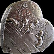 Antique 800 Silver Trinket Pill Box c.1900 Cherubs on Heart Shape