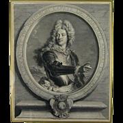 Antique Portrait Engraving 18thC Louis Alexandre de Bourbon, compte de Toulouse after Rigaud