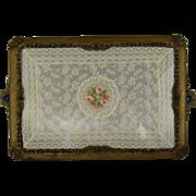 Vintage Jeweled Vanity Tray c1920 Lace Perfume Plateau