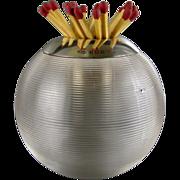 BIG Asprey Match Holder Striker c1937 Threaded Glass Sterling Silver Topped Vintage Ball Match