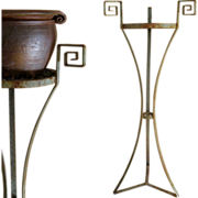 Art Deco Iron Pedestal c1930 Vintage Greek Key Fern Stand