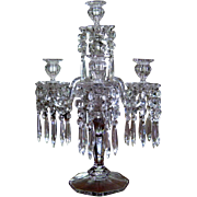Victorian 5 Light Glass Candelabra Prisms c1900 Antique Girandole Five Arm Crystal Luster Cand