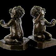 Brenda Putnam Bronze Bookends c.1913 Cute Baby Girls Sculpture