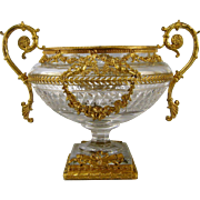 French Crystal Vase Ormolu Mounts c1890 Antique Dore Bronze Cut Glass Urn