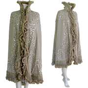 Victorian Evening Cape c1900 Antique Opera Cloak Coat Wool Chiffon