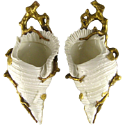 Royal Worcester Shell & Coral Wall Pocket Vase Pair c1886 Gilt Branch
