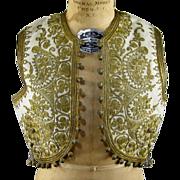 19thC Ottoman Embroidered Child's Vest Antique Turkish Metallic Needlework