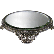 """Silver Plate Plateau Mirror Antique 6"""" Mirrored Tray"""