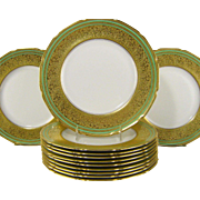 12 Royal Doulton Dinner Plates c1915 Gold Encrusted Charger Plate