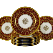 12 Royal Doulton Burslem Dinner Plates c1895 Raised Gold Roses Deep Red Plate