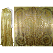 Art Deco Silk & Gold Lame Brocaded Piano Shawl c1925 Vintage