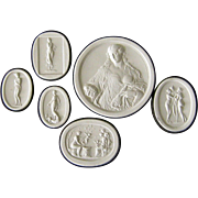 SALE PENDING Grand Tour Plaster Intaglio Collection Antique Women Cameo Medallions
