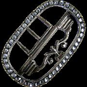 18th Century Men's Paste Stock Buckle c.1770 Rhinestone Shoe Type Buckle