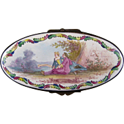 Scenic French Faience Table Box Antique Jewelry Trinket Box