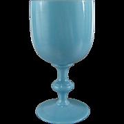 Blue Opaline Goblet P.V. France Vintage Portieux Vallerysthal Opalescent Water Glass