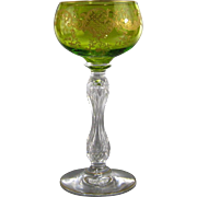 Gilt & Engraved Hollow Stem Wine Goblet Antique Green Glass