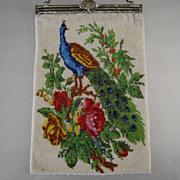 Beaded Peacock Purse c.1930 Vintage Art Deco Handbag