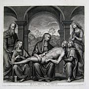 Jesus Christ Au Tombeau 18thC Engraving Claude Duflos after Perugino