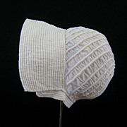 Early Baby Cap Hand Corded Quilting c.1810 Antique Bonnet with Note