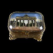 Antique French Eglomise Souvenir Trinket Box c.1900 Beveled Glass