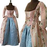 SALE PENDING Robe a l'Anglaise & Quilted Petticoat c.1780 Antique Silk Brocade Dress Gown