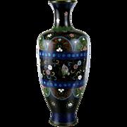 "Antique Japanese Cloisonne Enamel Vase c.1890 Large 12"""