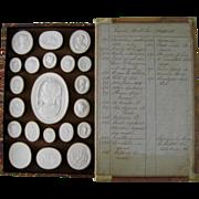 SALE PENDING Antique Grand Tour Plaster Intaglios c.1820 Paoletti Impronte Faux Book Box Colle